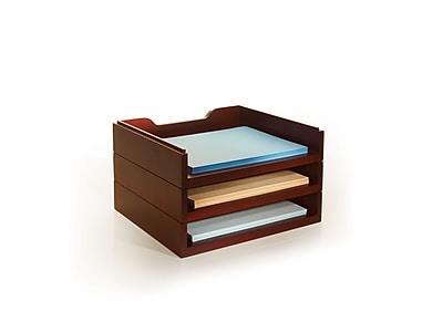 Bindertek Stacking Wood Desk Organizers, 3 Letter Tray Kit, Mahogany (WK4-MA)