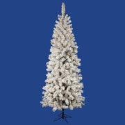 "Vickerman 6.5' x 32"" Flocked Pacific Pencil Tree With 306 PVC Tips & 300 Dura-Lit Clear Light, White"