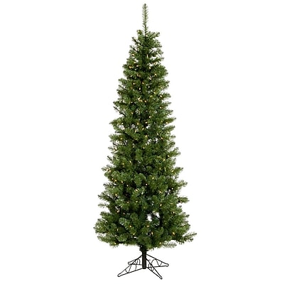 "Vickerman 7.5' x 36"" Salem Pencil Pine Tree With 679 PVC Tips & 350 Dura-Lit Clear Light, Green"
