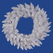 "Vickerman 60"" Spruce Wreath With 720 PVC Tips & 200 Dura-Lit Clear Light, Sparkle White"