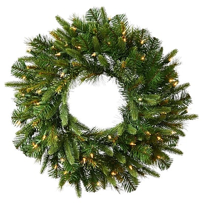 "Vickerman 42"" Cashmere Pine Wreath With 240 PE/PVC Tips & 100 Dura-Lit Clear Light, Green"