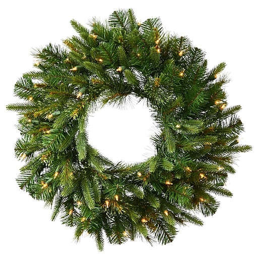 """Vickerman 48"""" Cashmere Pine Wreath With 280 PE/PVC Tips & 100 Dura-Lit Clear Light, Green"""