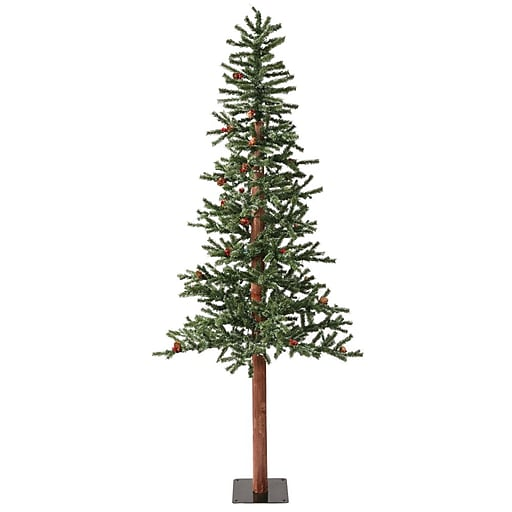 """Vickerman 7' x 38"""" Alpine Berry Cone Tree With 771 PVC Tips & 300 Dura-Lit Light, Frosted"""