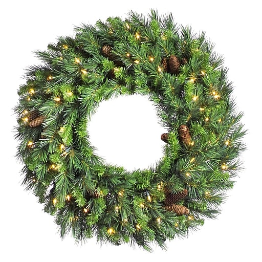 "Vickerman 60"" Cheyenne Pine Wreath With 860 Tips & 280 Dura-Lit Clear Light, Green"