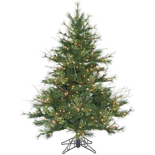 """Vickerman 4.5' x 40"""" Mixed Country Pine Tree With 478 PVC Tips & 250 Dura-Lit Clear Light, Green"""