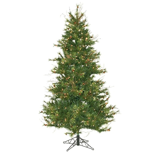 """Vickerman 6.5' x 47"""" Mixed Country Pine Tree With 834 PVC Tips & 400 Dura-Lit Clear Light, Green"""