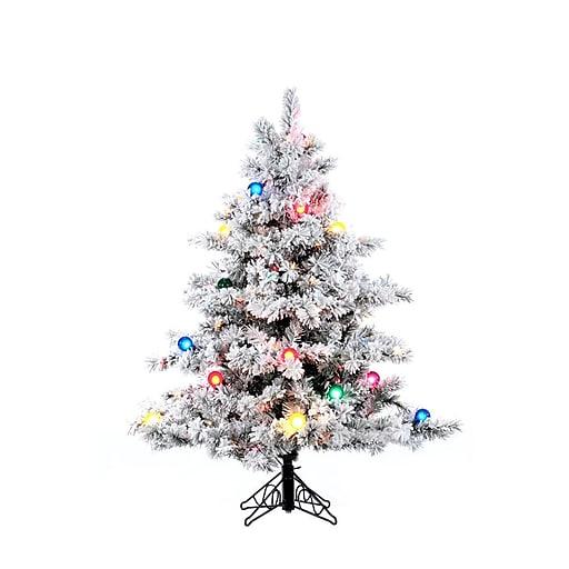 "Vickerman 4.5' x 44"" Alaskan Pine Tree With 349 PVC Tips & 200 Dura-Lit & G50 Light, White On Green"