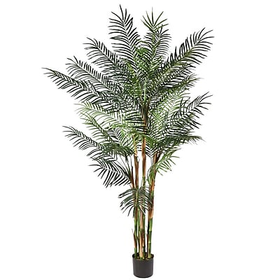 Vickerman 7' Potted Deluxe Reed Palm x 7 With 1577 Leaves, Green