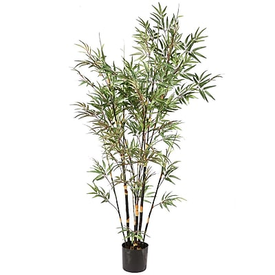 Vickerman 7' Potted Black X10 Bamboo Tree With 1735 Leaves, Black/Green