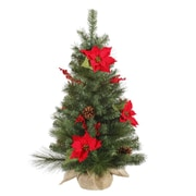 "Vickerman 36"" x 22"" Red Berries Decorated Poinsettia/Mixed Tree With 102 Tips, Green"