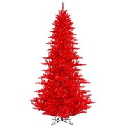 "Vickerman 7.5' x 52"" Fir Tree With 1634 PVC Tips & 750 Red Mini Light, Red"
