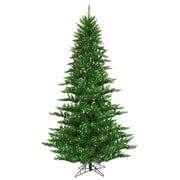 "Vickerman 6.5' x 46"" Tinsel Fir Tree With 1216 PVC Tips & 600 Green Mini Light, Green"