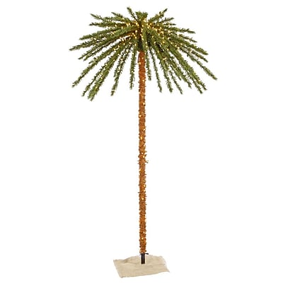 Vickerman 7' Outdoor Palm Tree With 73 PVC Tips & 500 Clear Mini Light, Green