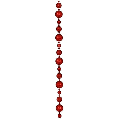 Vickerman 9' Assorted Shatterproof Large Ball Garland, Red