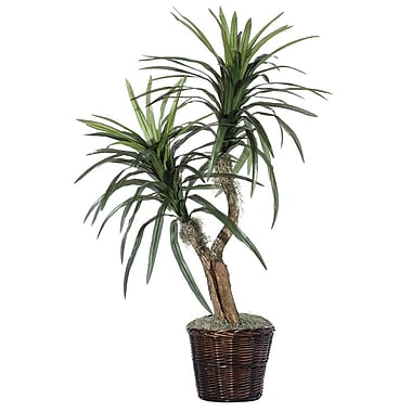 Vickerman 4' Artificial Marginata Bush In Rattan Basket, Dark Green/Variegated
