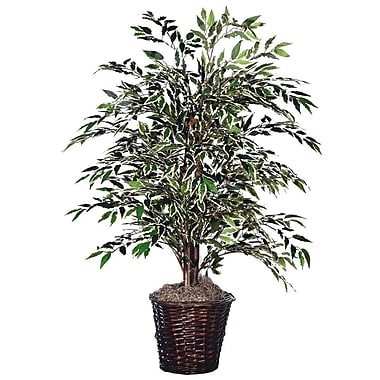 Vickerman 4' Smilax Bush In Dark Brown Rattan Container, Dark Green/Variegated