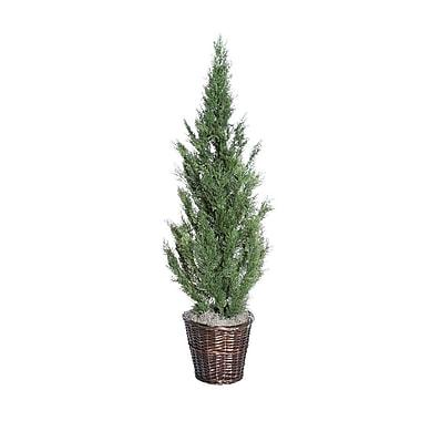 Vickerman 5' Artificial Cedar Deluxe Tree With Brown Rattan Basket