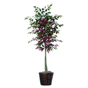Vickerman 6' Artificial Green & Red Capensia Tree With Hardwood Trunks & Brown Rattan Basket
