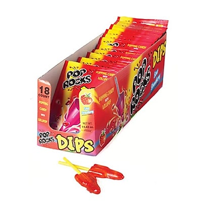Pop Rocks Dips Sour Strawberry; 0.63 oz. Pouch, 18 Pouches/Box