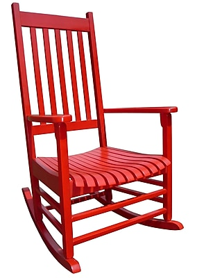 International Concepts Solid Poplar Wood Porch Rocker Chair, Red