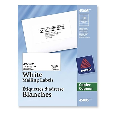 Avery Rectangle White Copier Address Label, 4-1/4