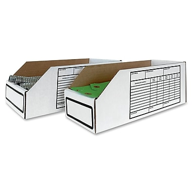 Crownhill Corrugated Storage Bins, White, 25/Pack