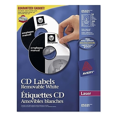 Avery CD/DVD Labels for Laser Printers, White, 50/Pack