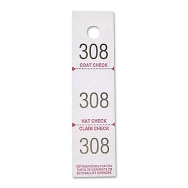 Sparco 3-Part Coat Check Ticket, 500/Pack