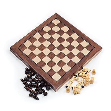 Trademark Games™ Walnut Book Style Chess Board With Staunton Chessmen
