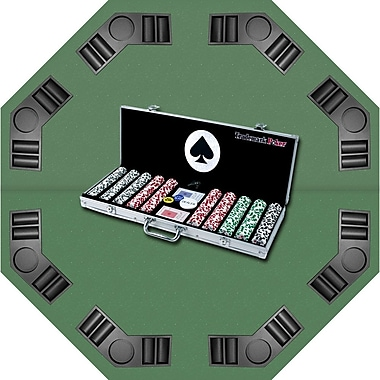 Trademark Poker™ 500 Four Aces Chips, Aluminum Case & Tabletop Super Set, Brilliant Silver