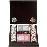 Trademark Poker™ 100 Four Aces Poker Chip Set With Beautiful Mahogany Case