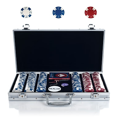 Trademark Poker™ 300 Chip Ace/King Suited Set With Aluminum Case, White/Blue/Red