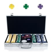 Trademark Poker™ 300 Chip Ace/King Suited Set With Aluminum Case, Yellow/Green/Purple
