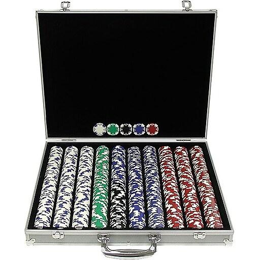 Trademark Poker™ 1000 Holdem Poker Chip Set With Aluminum Case, Brilliant Silver