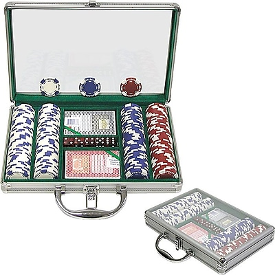 Trademark Poker™ 200 Holdem Poker Chip Set With Clear Cover Aluminum Case