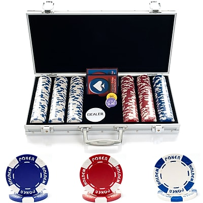 Trademark Poker 300 Holdem Poker Chip Set With Aluminum Case, Brilliant Silver 281481