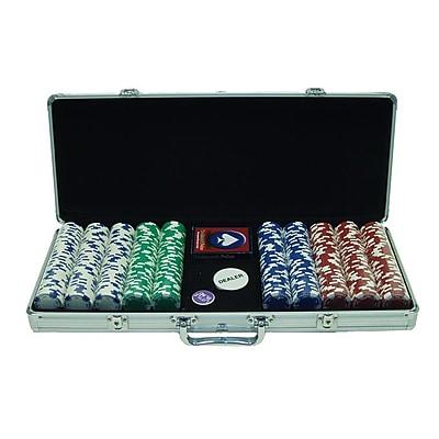 Trademark Poker™ 500 Holdem Poker Chip Set With Aluminum Case, Brilliant Silver