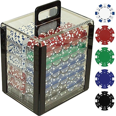 Trademark Poker™ 1000 Dice-Striped Poker Chips With Acrylic Carrier