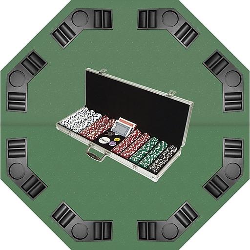 Trademark Poker™ 500 Dice-Striped Chips, Case & Tabletop Super Set, Brilliant Silver