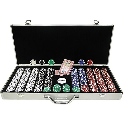 Trademark Poker™ 650 Dice-Striped Poker Chips With Aluminum Case, Brilliant Silver