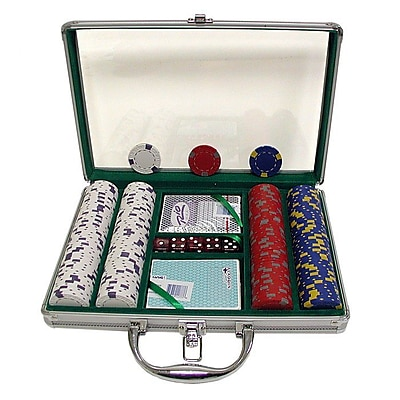 Trademark Poker™ 200 Pro Clay Casino Chips With Clear Cover Aluminum Case