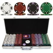 Trademark Poker™ 500 Tri Color Ace Suited Chips With Aluminum Case, Brilliant Silver