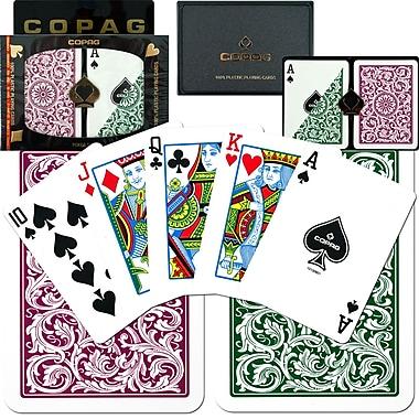 Copag Poker Size Regular Index Card, Green/Burgundy