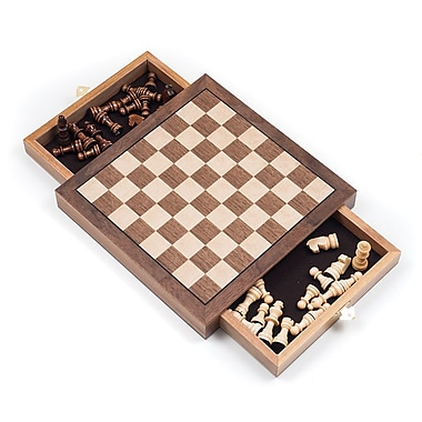 Elegant Inlaid Wood Chess Cabinet With Staunton Chessmen