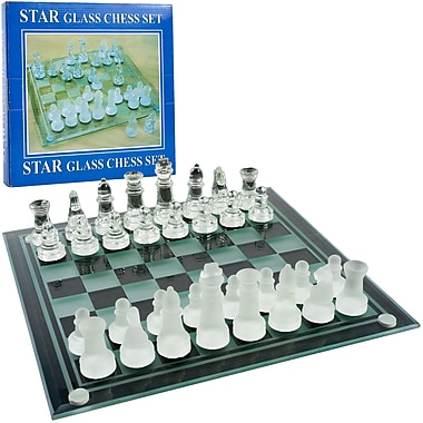 Trademark Games™ Elegant Glass Chess and Checker Board Set