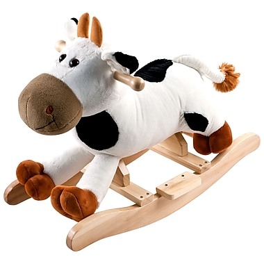Happy Trails™ Plush Rocking Connie Cow With Sound, White/Black/Brown
