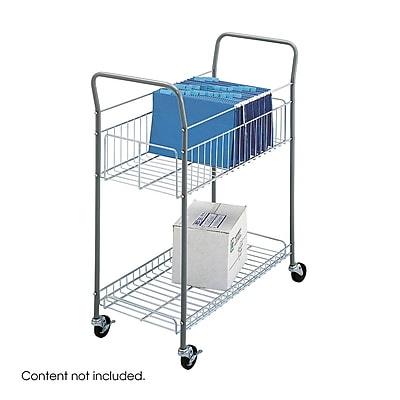 Safco® Economy Mail Cart, Metallic Gray Steel, 38 3/4
