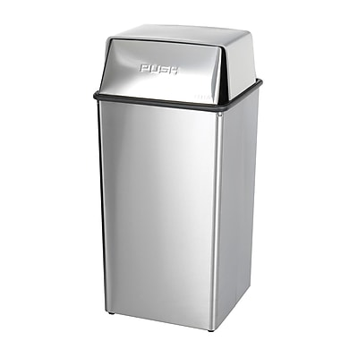 Safco 36 gal. Stainless Steel Swing Lid Trash Can with Lid, Silver