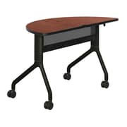 """Safco Rumba 48"""" Laminate Trapezoid Table With Steel Base, Cherry/Black"""