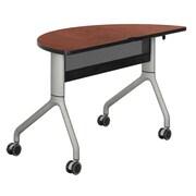 "Safco® Rumba™ 48"" Laminate Trapezoid Table With Steel Base, Cherry/Metallic Gray"